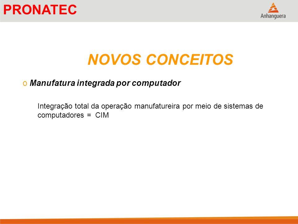 NOVOS CONCEITOS o Manufatura integrada por computador Integração total da operação manufatureira por meio de sistemas de computadores = CIM PRONATEC
