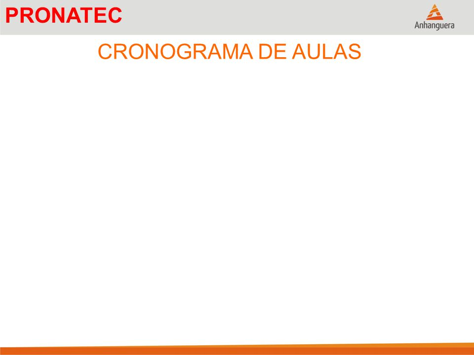 CRONOGRAMA DE AULAS PRONATEC