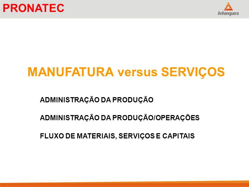 MANUFATURA versus SERVIÇOS ADMINISTRAÇÃO DA PRODUÇÃO ADMINISTRAÇÃO DA PRODUÇÃO/OPERAÇÕES FLUXO DE MATERIAIS, SERVIÇOS E CAPITAIS PRONATEC