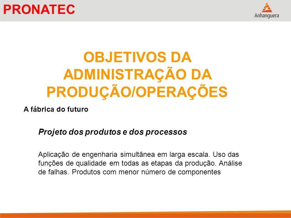 OBJETIVOS DA ADMINISTRAÇÃO DA PRODUÇÃO/OPERAÇÕES A fábrica do futuro Projeto dos produtos e dos processos Aplicação de engenharia simultânea em larga