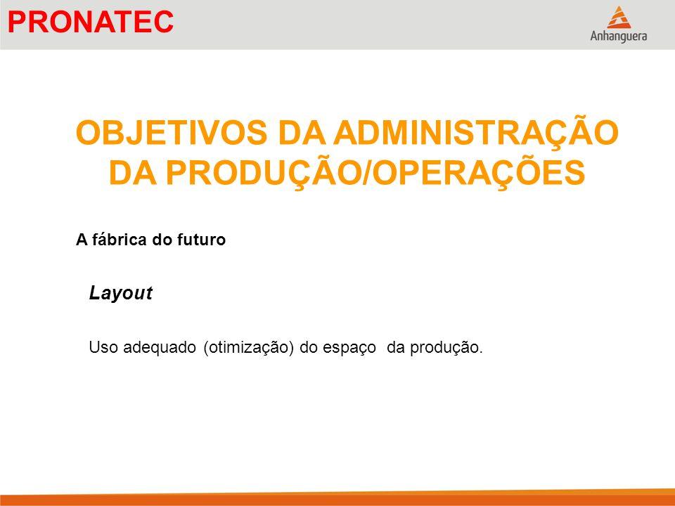 OBJETIVOS DA ADMINISTRAÇÃO DA PRODUÇÃO/OPERAÇÕES A fábrica do futuro Layout Uso adequado (otimização) do espaço da produção. PRONATEC