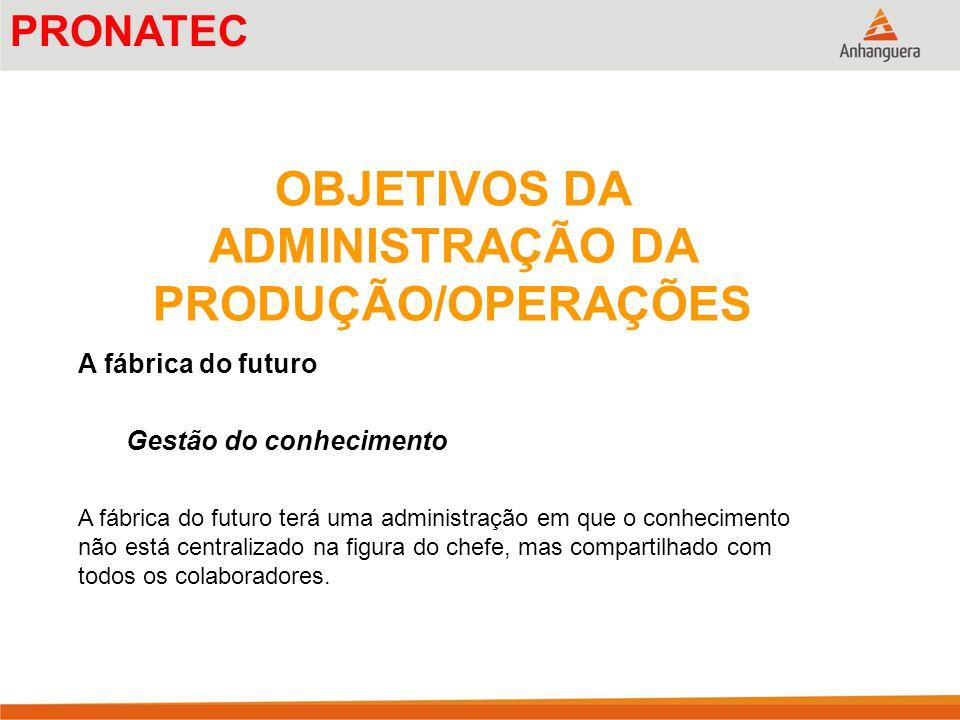 OBJETIVOS DA ADMINISTRAÇÃO DA PRODUÇÃO/OPERAÇÕES A fábrica do futuro Gestão do conhecimento A fábrica do futuro terá uma administração em que o conhec