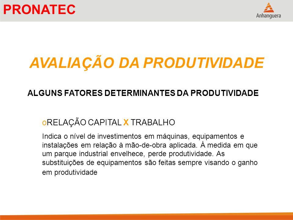AVALIAÇÃO DA PRODUTIVIDADE ALGUNS FATORES DETERMINANTES DA PRODUTIVIDADE oRELAÇÃO CAPITAL X TRABALHO Indica o nível de investimentos em máquinas, equi