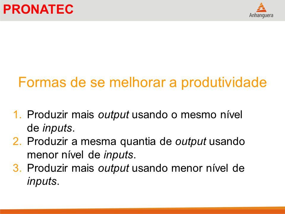 Formas de se melhorar a produtividade 1.Produzir mais output usando o mesmo nível de inputs. 2.Produzir a mesma quantia de output usando menor nível d