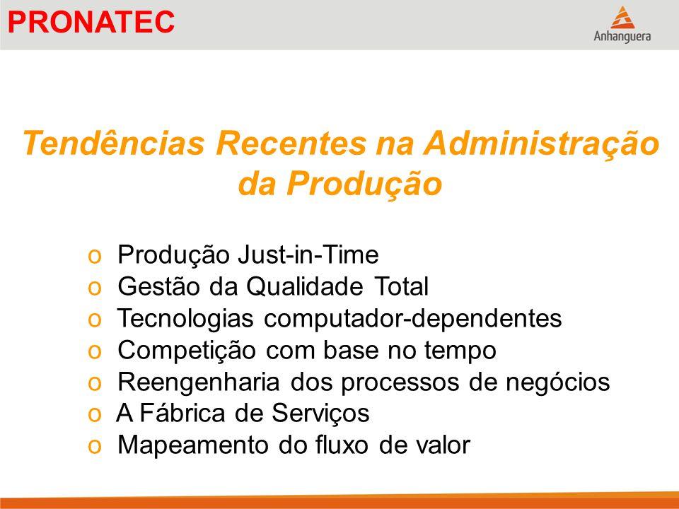 Tendências Recentes na Administração da Produção o Produção Just-in-Time o Gestão da Qualidade Total o Tecnologias computador-dependentes o Competição