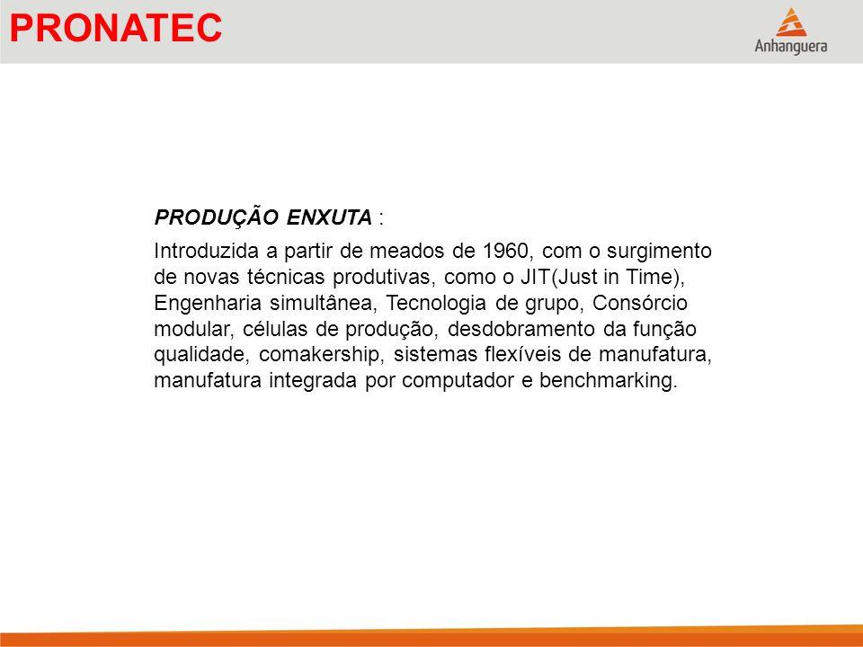 PRODUÇÃO ENXUTA : Introduzida a partir de meados de 1960, com o surgimento de novas técnicas produtivas, como o JIT(Just in Time), Engenharia simultân