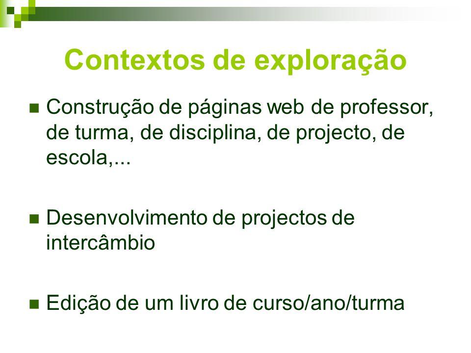 Contextos de exploração Construção de páginas web de professor, de turma, de disciplina, de projecto, de escola,...