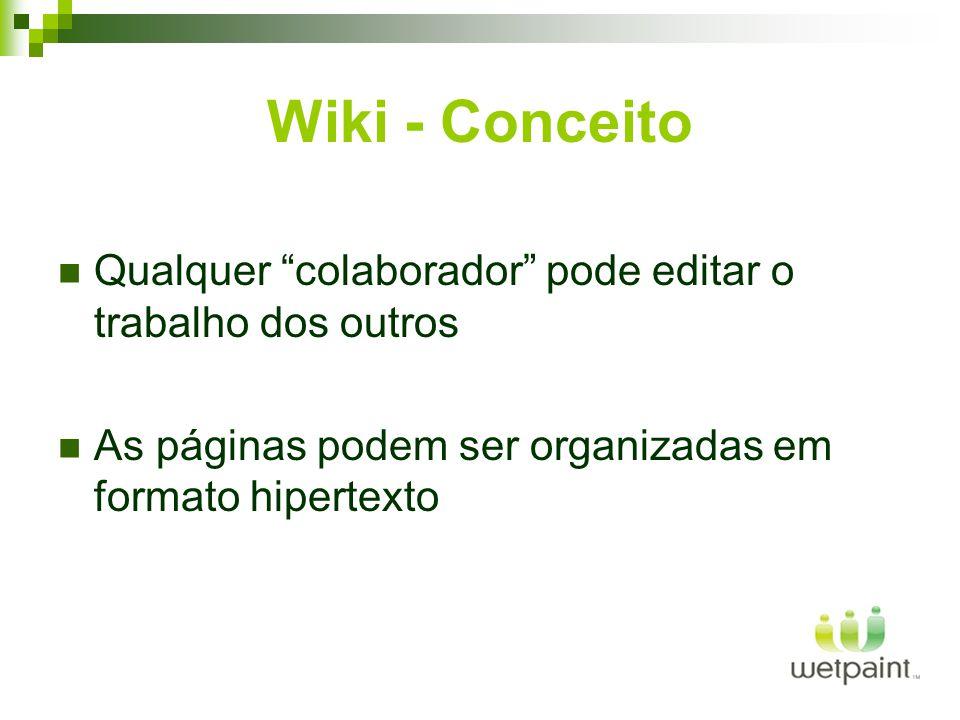 Wiki - Conceito Qualquer colaborador pode editar o trabalho dos outros As páginas podem ser organizadas em formato hipertexto