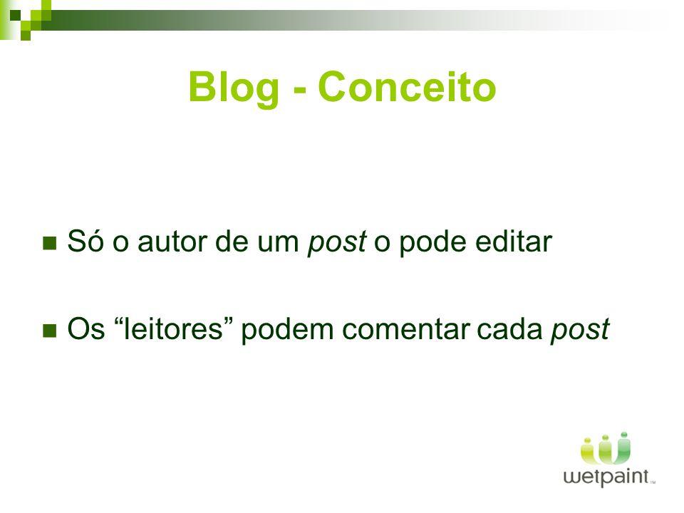 Blog - Conceito Só o autor de um post o pode editar Os leitores podem comentar cada post