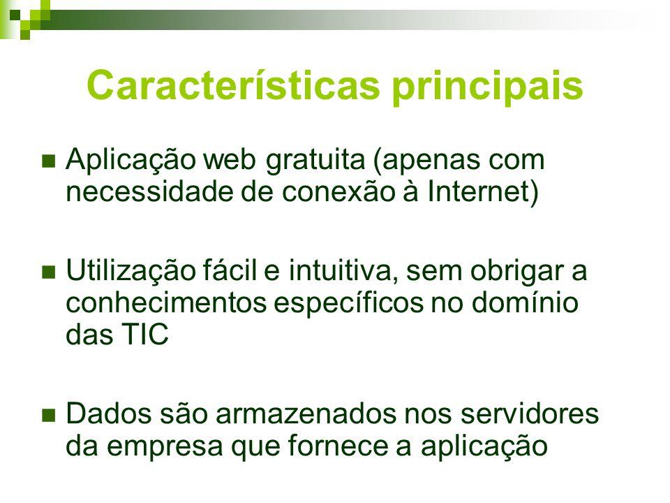 Características principais Aplicação web gratuita (apenas com necessidade de conexão à Internet) Utilização fácil e intuitiva, sem obrigar a conhecimentos específicos no domínio das TIC Dados são armazenados nos servidores da empresa que fornece a aplicação