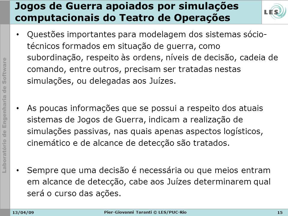 13/04/0915 Pier-Giovanni Taranti © LES/PUC-Rio Jogos de Guerra apoiados por simulações computacionais do Teatro de Operações Questões importantes para