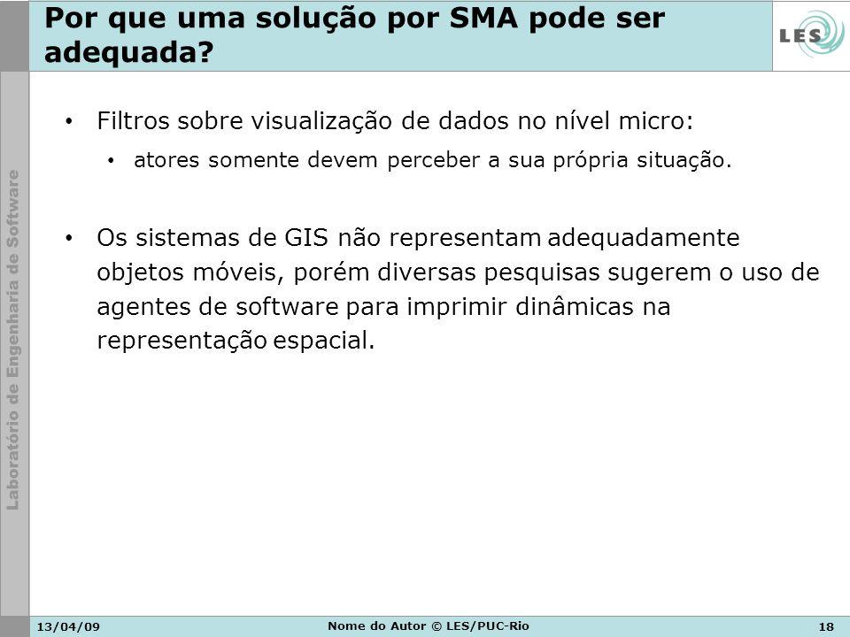 13/04/0918 Nome do Autor © LES/PUC-Rio Por que uma solução por SMA pode ser adequada? Filtros sobre visualização de dados no nível micro: atores somen