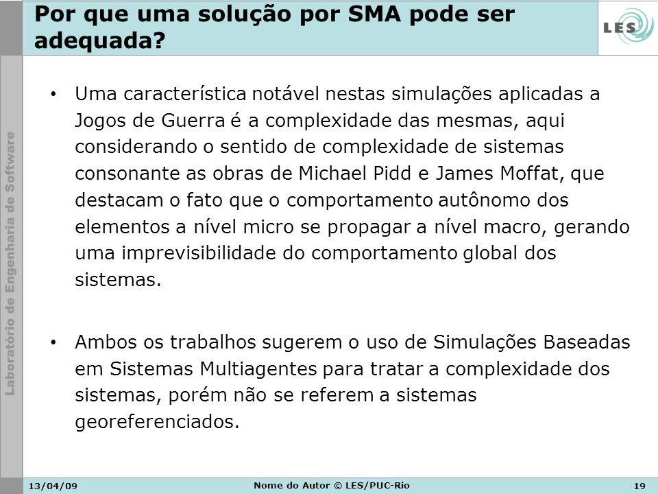 13/04/0919 Nome do Autor © LES/PUC-Rio Por que uma solução por SMA pode ser adequada? Uma característica notável nestas simulações aplicadas a Jogos d