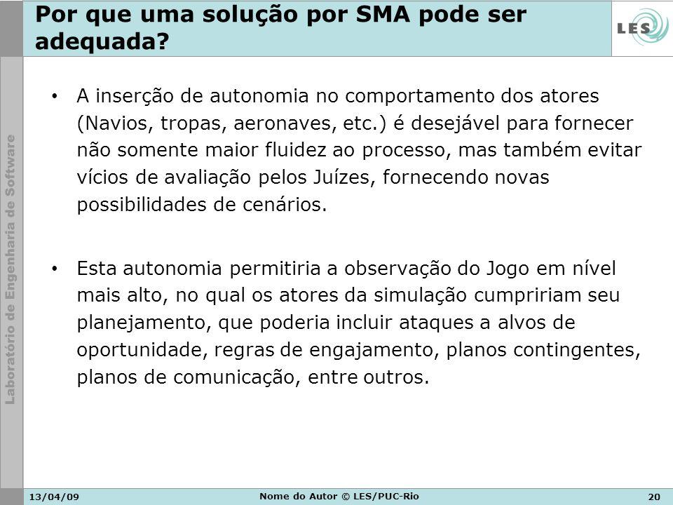 13/04/0920 Nome do Autor © LES/PUC-Rio Por que uma solução por SMA pode ser adequada? A inserção de autonomia no comportamento dos atores (Navios, tro
