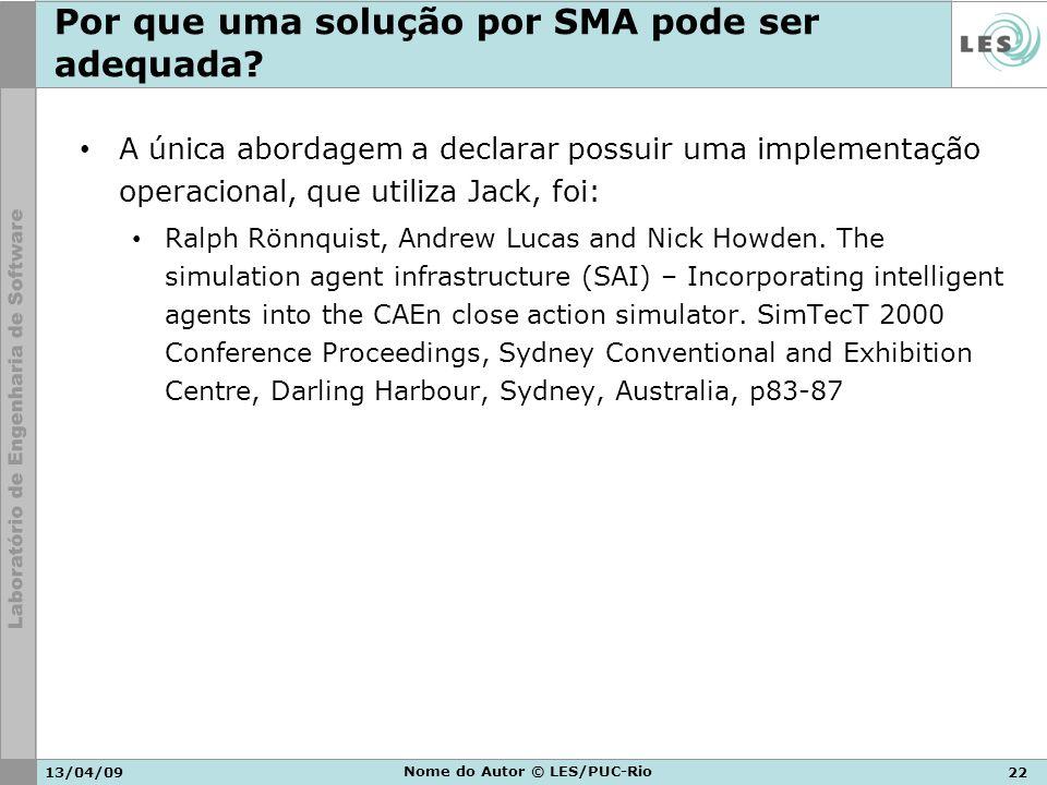 13/04/0922 Nome do Autor © LES/PUC-Rio Por que uma solução por SMA pode ser adequada? A única abordagem a declarar possuir uma implementação operacion