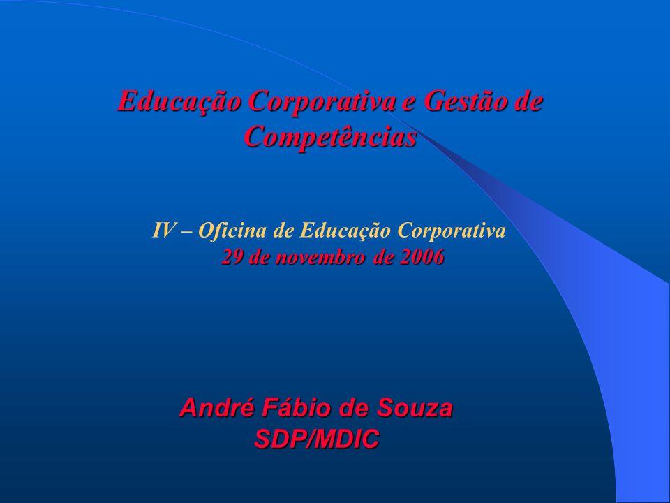 Educação Corporativa e Gestão de Competências IV – Oficina de Educação Corporativa 29 de novembro de 2006 29 de novembro de 2006 André Fábio de Souza SDP/MDIC