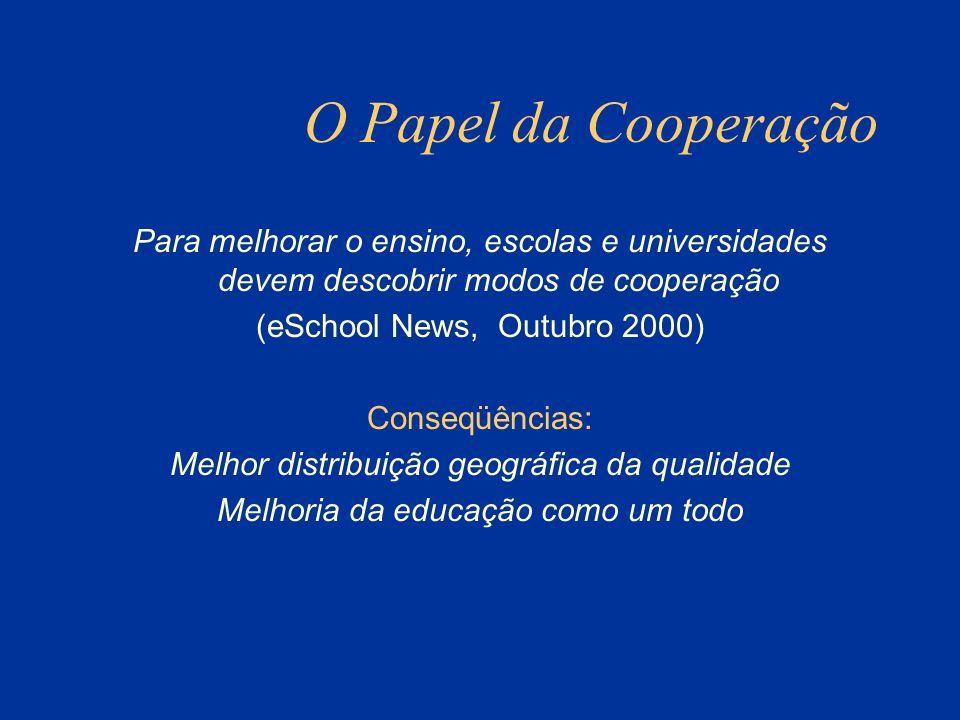 O Papel da Cooperação Para melhorar o ensino, escolas e universidades devem descobrir modos de cooperação (eSchool News, Outubro 2000) Conseqüências: Melhor distribuição geográfica da qualidade Melhoria da educação como um todo
