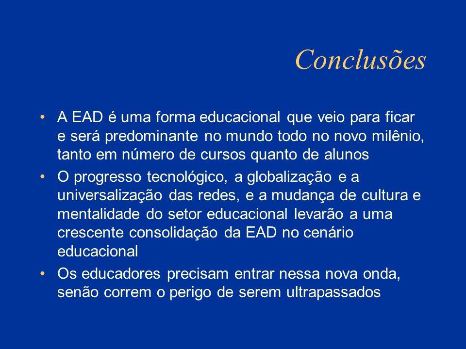 Conclusões A EAD é uma forma educacional que veio para ficar e será predominante no mundo todo no novo milênio, tanto em número de cursos quanto de alunos O progresso tecnológico, a globalização e a universalização das redes, e a mudança de cultura e mentalidade do setor educacional levarão a uma crescente consolidação da EAD no cenário educacional Os educadores precisam entrar nessa nova onda, senão correm o perigo de serem ultrapassados