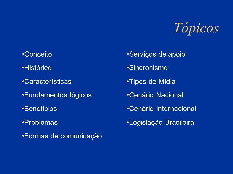 Conceito Histórico Características Fundamentos lógicos Benefícios Problemas Formas de comunicação Serviços de apoio Sincronismo Tipos de Mídia Cenário Nacional Cenário Internacional Legislação Brasileira Tópicos
