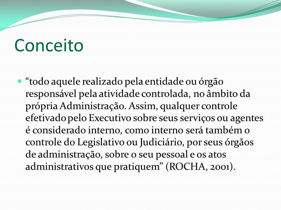 """Conceito """"todo aquele realizado pela entidade ou órgão responsável pela atividade controlada, no âmbito da própria Administração. Assim, qualquer cont"""