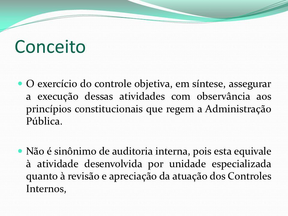 Conceito O exercício do controle objetiva, em síntese, assegurar a execução dessas atividades com observância aos princípios constitucionais que regem a Administração Pública.