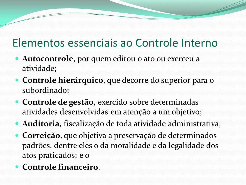 Elementos essenciais ao Controle Interno Autocontrole, por quem editou o ato ou exerceu a atividade; Controle hierárquico, que decorre do superior par