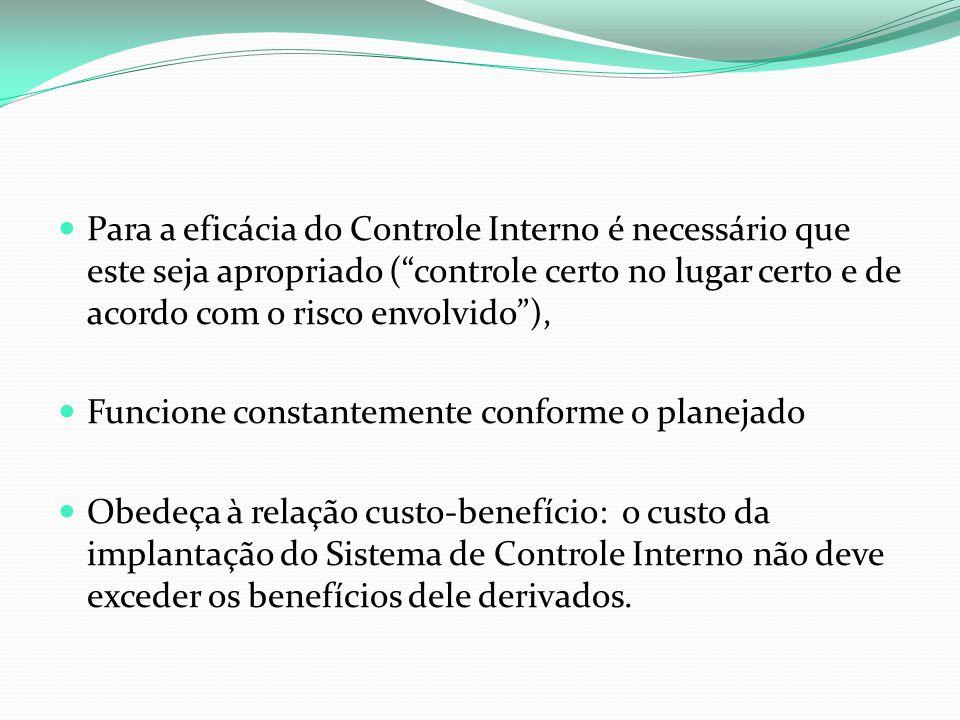 """Para a eficácia do Controle Interno é necessário que este seja apropriado (""""controle certo no lugar certo e de acordo com o risco envolvido""""), Funcion"""