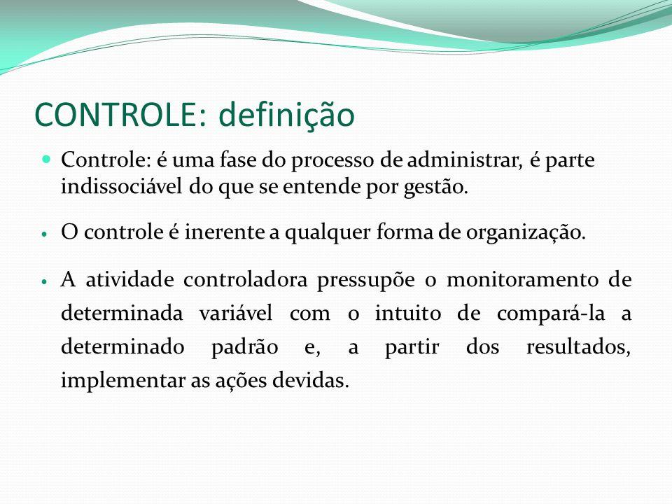 CONTROLE: definição Controle: é uma fase do processo de administrar, é parte indissociável do que se entende por gestão. O controle é inerente a qualq
