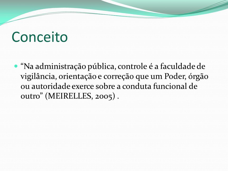 Conceito Na administração pública, controle é a faculdade de vigilância, orientação e correção que um Poder, órgão ou autoridade exerce sobre a conduta funcional de outro (MEIRELLES, 2005).