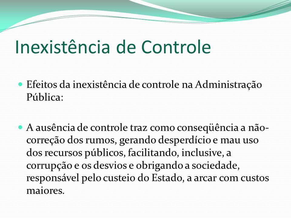 Inexistência de Controle Efeitos da inexistência de controle na Administração Pública: A ausência de controle traz como conseqüência a não- correção d