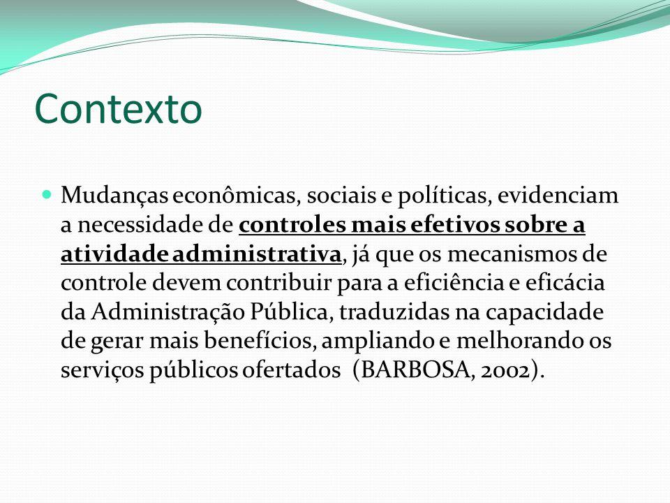 Contexto Mudanças econômicas, sociais e políticas, evidenciam a necessidade de controles mais efetivos sobre a atividade administrativa, já que os mec