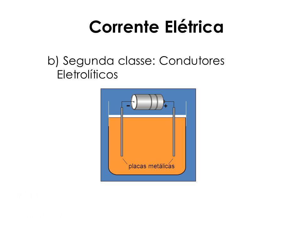 Mod 1 Semiextensivo Corrente Elétrica Tipos de condutores: a) Primeira classe: Condutores Metálicos