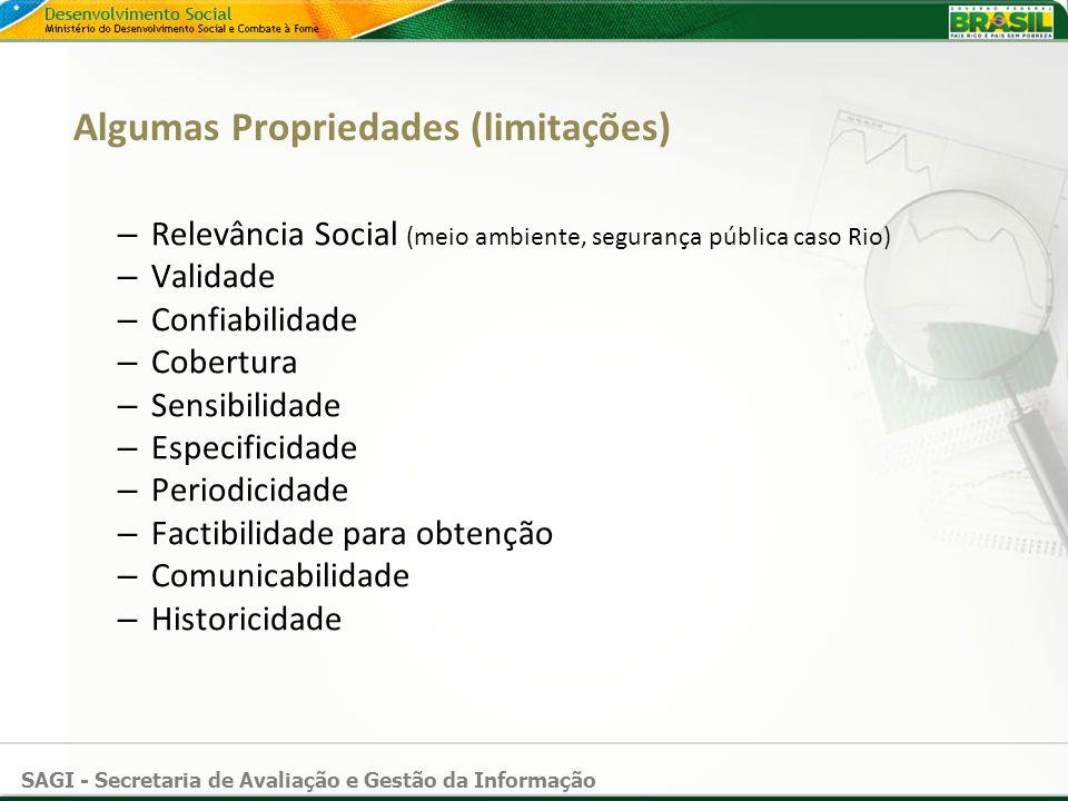 SAGI - Secretaria de Avaliação e Gestão da Informação Algumas Propriedades (limitações) – Relevância Social (meio ambiente, segurança pública caso Rio