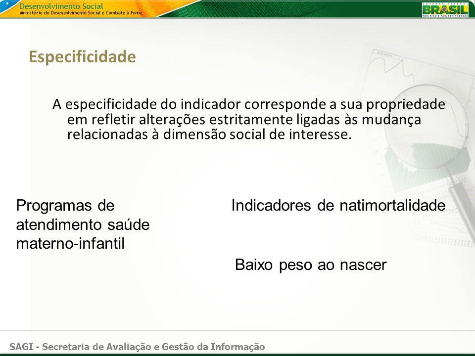 SAGI - Secretaria de Avaliação e Gestão da Informação Especificidade A especificidade do indicador corresponde a sua propriedade em refletir alteraçõe