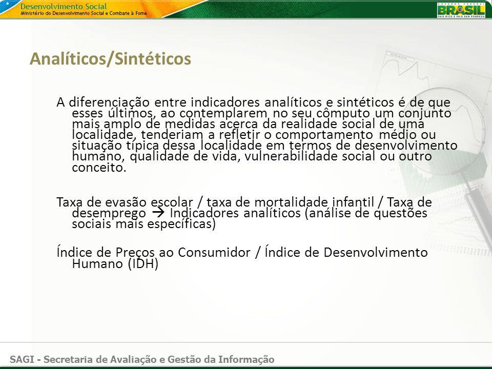 SAGI - Secretaria de Avaliação e Gestão da Informação Analíticos/Sintéticos A diferenciação entre indicadores analíticos e sintéticos é de que esses ú
