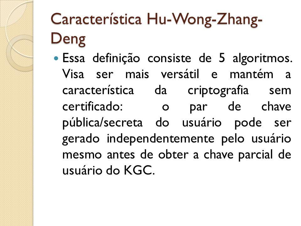 Característica Hu-Wong-Zhang- Deng Essa definição consiste de 5 algoritmos.
