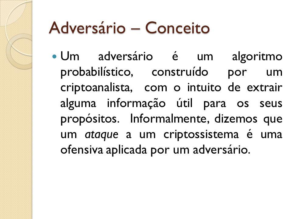 Adversário – Conceito Um adversário é um algoritmo probabilístico, construído por um criptoanalista, com o intuito de extrair alguma informação útil para os seus propósitos.