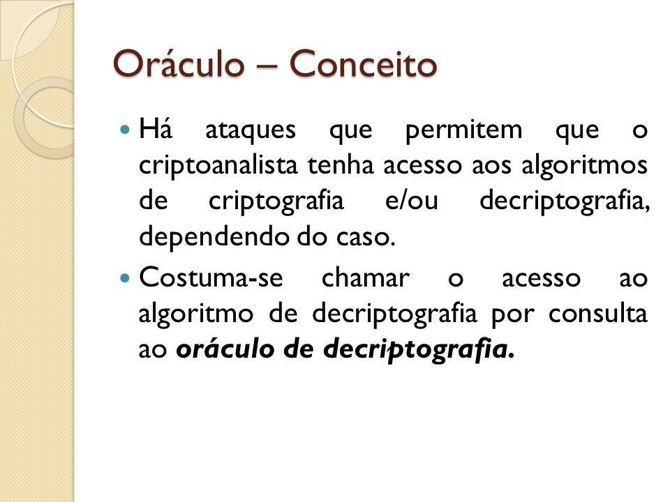 Oráculo – Conceito Há ataques que permitem que o criptoanalista tenha acesso aos algoritmos de criptografia e/ou decriptografia, dependendo do caso.