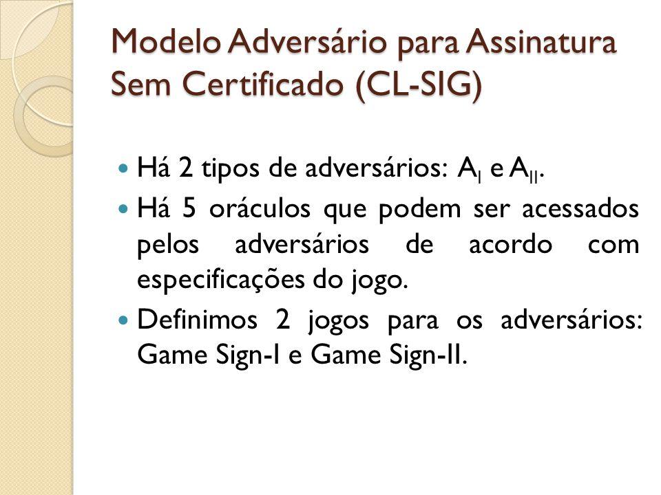 Modelo Adversário para Assinatura Sem Certificado (CL-SIG) Há 2 tipos de adversários: A I e A II.