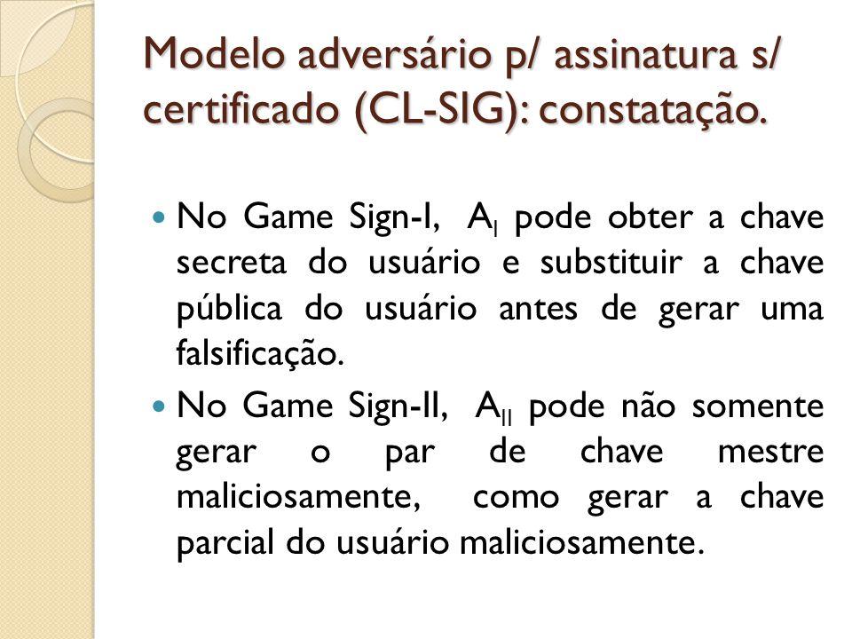 Modelo adversário p/ assinatura s/ certificado (CL-SIG): constatação.