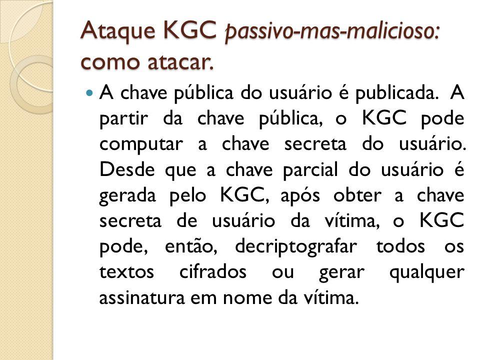 Ataque KGC passivo-mas-malicioso: como atacar. A chave pública do usuário é publicada.