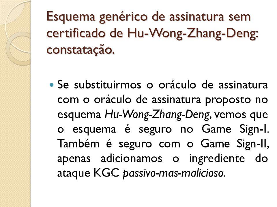 Esquema genérico de assinatura sem certificado de Hu-Wong-Zhang-Deng: constatação.