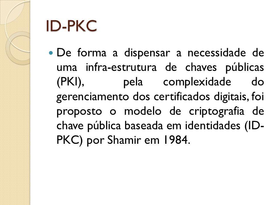 ID-PKC De forma a dispensar a necessidade de uma infra-estrutura de chaves públicas (PKI), pela complexidade do gerenciamento dos certificados digitais, foi proposto o modelo de criptografia de chave pública baseada em identidades (ID- PKC) por Shamir em 1984.