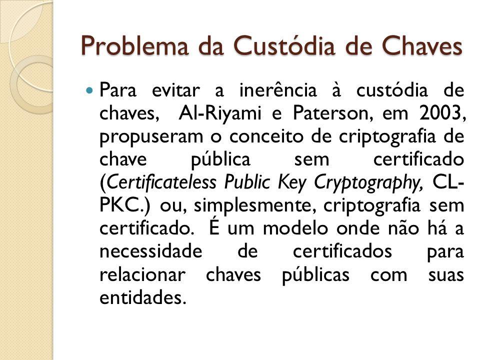 Problema da Custódia de Chaves Para evitar a inerência à custódia de chaves, Al-Riyami e Paterson, em 2003, propuseram o conceito de criptografia de chave pública sem certificado (Certificateless Public Key Cryptography, CL- PKC.) ou, simplesmente, criptografia sem certificado.