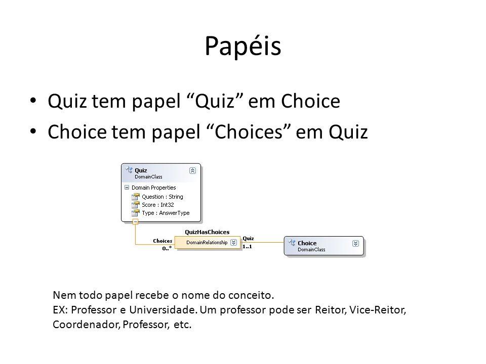 """Papéis Quiz tem papel """"Quiz"""" em Choice Choice tem papel """"Choices"""" em Quiz Nem todo papel recebe o nome do conceito. EX: Professor e Universidade. Um p"""