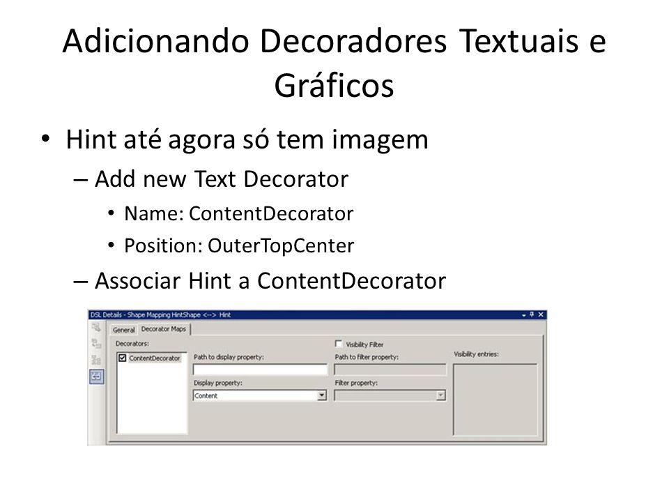 Adicionando Decoradores Textuais e Gráficos Hint até agora só tem imagem – Add new Text Decorator Name: ContentDecorator Position: OuterTopCenter – Associar Hint a ContentDecorator