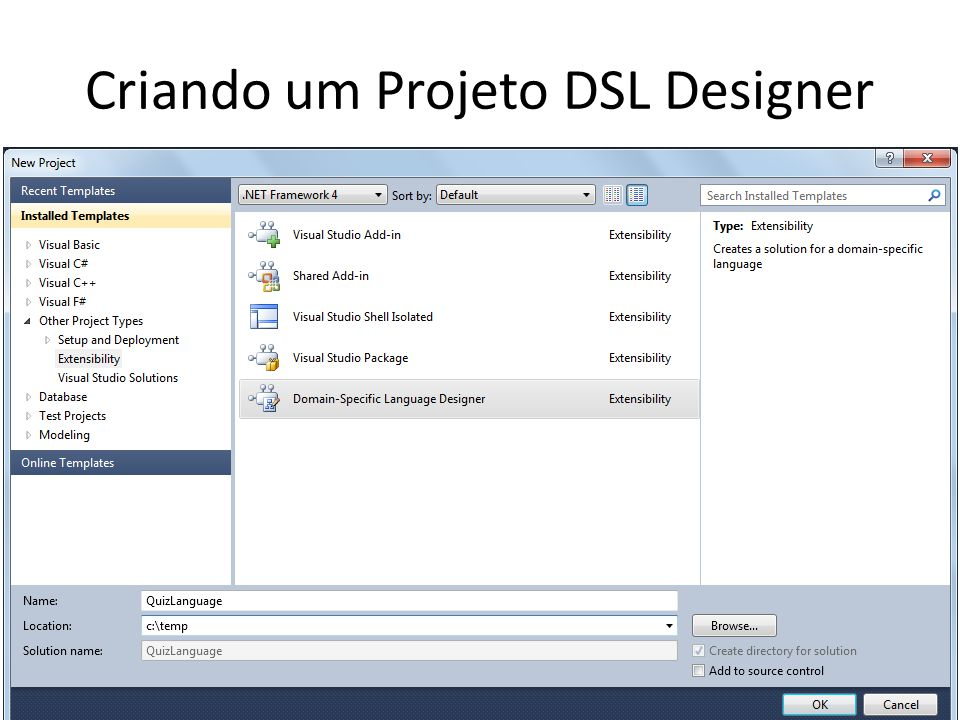 Testando a DSL Ctrl + F5 (ou acesse a opção Debug>Start Without Debugging)