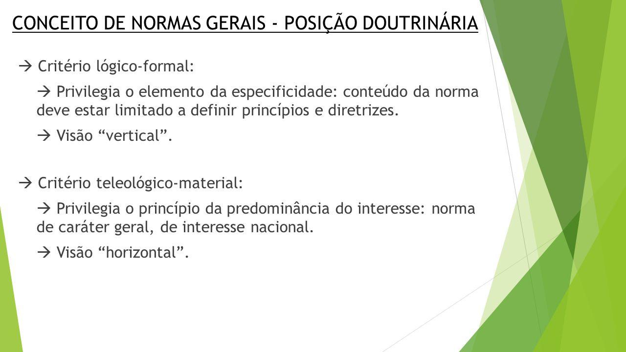 CONCEITO DE NORMAS GERAIS - POSIÇÃO DOUTRINÁRIA  Critério lógico-formal:  Privilegia o elemento da especificidade: conteúdo da norma deve estar limitado a definir princípios e diretrizes.