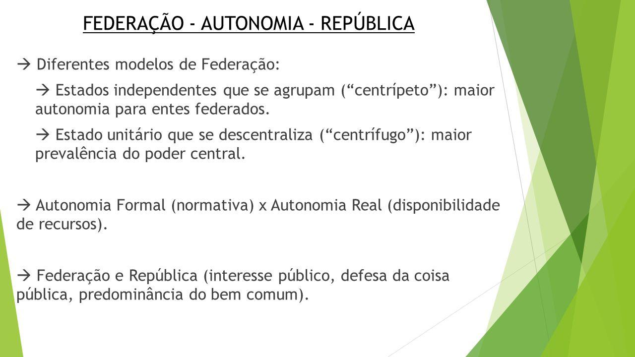 """FEDERAÇÃO - AUTONOMIA - REPÚBLICA  Diferentes modelos de Federação:  Estados independentes que se agrupam (""""centrípeto""""): maior autonomia para entes"""