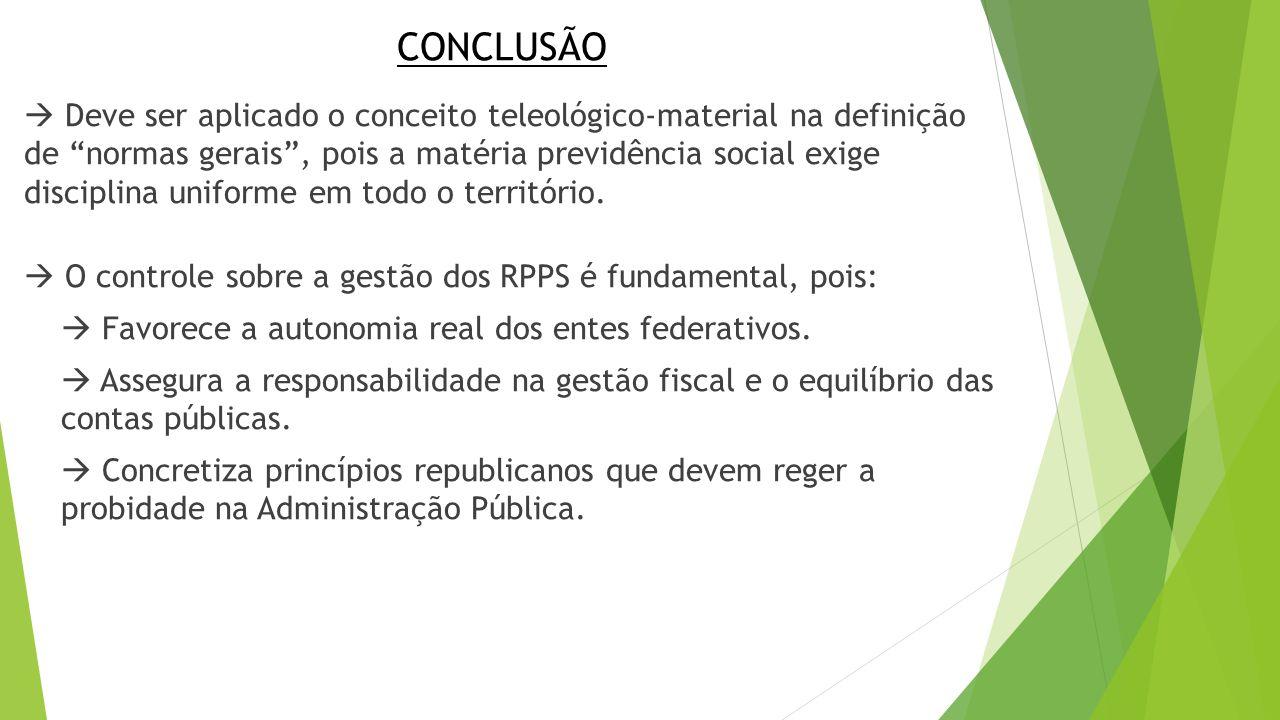 """CONCLUSÃO  Deve ser aplicado o conceito teleológico-material na definição de """"normas gerais"""", pois a matéria previdência social exige disciplina unif"""